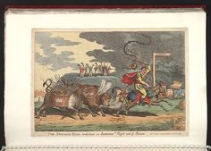 09.1808:Bodleian Libraries, The Spanish bull broke loose or-Josephs flight out of Spain.Satire on the Peninsular war. (British political cartoon); Two bulls, labelled John Bull and Don Bull, chase Joseph Bonaparte out of Spain. Puffs of 'liberty' emerge from the nostrils of the bulls, and John Bull is carrying a pannier of arms labelled G III Rex. Joseph is riding an ass laden with bags of gold and dollars. On a cliff in the background, small figures of the rulers of Europe cheer Joseph's…