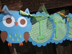 Baby Shower Banner - It's A Boy - Owl Themed Blue & Green on Etsy, $18.00