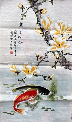 Decorate your Wall Scroll with Abundance Original Koi Fish and Flower Painting and improve wall of your home with this multi-colored painting created by our talented artist. View more beautiful photography. Koi Painting, Japanese Painting, Chinese Painting, Silk Painting, Chinese Art, Chinese Brush, Art Aquarelle, Watercolor Art, Koi Kunst