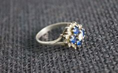 Vintage Sterling Silver Blue Stone Cluster Ring - 1982 Vintage Ring - Anniversary Present - Valentines present - Birmingham Silver -US8 UK P on Etsy, $99.00 AUD