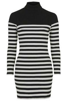 PETITE Roll Neck Striped Dress