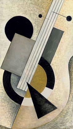 Le Banjo, 1967. húngaro Bela de Kristo (1920-2006) El uso de un formato cubista rigurosa, el trabajo de De Kristo muestra una sensibilidad adicional y una visión suavizada del mundo. En su primera etapa fue muy influenciado por los constructivistas rusos como Malevich, así como obras cubistas sintéticos de Picasso.