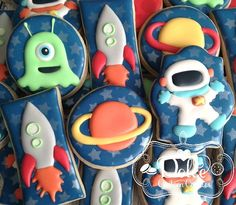 Space Astronaut Rocket Ship Alien Planet by DolceCustomCookies