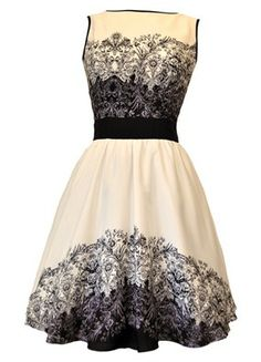 LADY V LONDON - REPRODUCTION WOMENS CLOTHING. EX: Beautiful Paisley Border Tea Dress $40 available in sizes 8 - plus sizes.