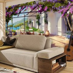 Papier Paint Vinyle terrasse face à la mer Méditerranée #papierpeint #vinyle #mur #décoration #deco #WebStickersMuraux