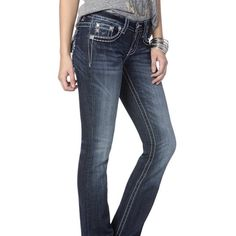 """Amazing miss me jeans These jeans will look amazing. They have just a touch of sparkle in the front and back. These jeans are signature boot. The inseam is 34"""". Miss Me Jeans"""