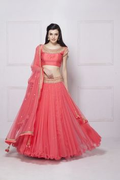 HOUSE OF OMBRE - Pink embroidered Lehenga set