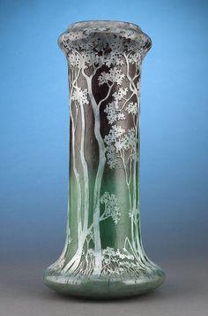 Daum Nancy  Woodland Cameo Glass Vase
