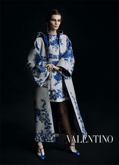 Dressing In Delft. Valentino's New Women's Dresses Take Cues From The Netherland's Classic Blue & White Pattern.