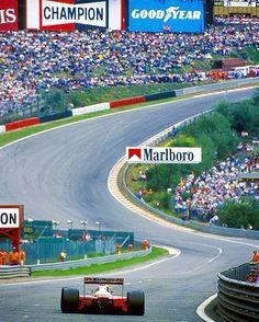 Senna heading for Eau Rouge & Raidillon, Spa-Francorchamps