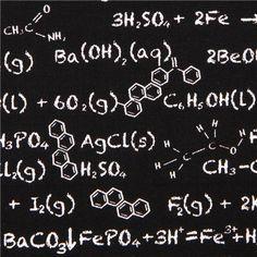 black Riley Blake chalk board chemical 'Equation' fabric Novelty 1