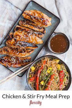 Chicken and shirataki noodles stir fry
