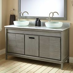 Give your master bathroom a beautiful makeover with the Gray Becker Teak Vessel Sink Vanity. Wavy grooves flow from edge to edge on the doors, while an integrated drawer handle gives this cabinet a unique look. In addition to a beautiful design, this Vessel Sink Vanity, Double Sink Vanity, Cabinet Door Makeover, Cabinet Doors, Bathroom Renos, Master Bathroom, Bathroom Cabinets, Bathroom Vanities, Bathroom Ideas