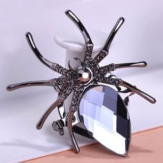 Gray Jet Spider Rhinestone Brooch Only $15.49  => Save up to 60% and Free Shipping => Order Now! #Ring #Jewelry #woman #fashion
