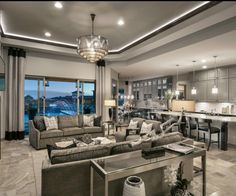 Great Grey Transitional Room by Maracay Homes