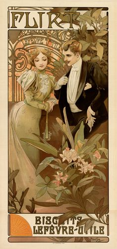 Alphonse Mucha Flirt, somehow this one seems off, more digital maybe? Actually Mucha?