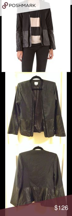 Parker Combo ( Leather & Wool) Boyfriend Jacket Wool twill with lambskin leather trim, welt pockets at the hip, collarless placket falls In a clean to the straight hem.  Excellent condition, wore a short time once. Parker Jackets & Coats Blazers