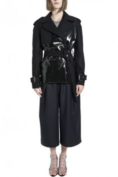 Black Matt Vinyl, Wool and Cashmere Mini Trench Coat by Wanda Nylon - Shop it here : Precouture.com
