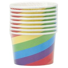 RAINBOW BIRTHDAY DOTS & STRIPES PARTY SUPPLIES PACK 8 PAPER SNACK SUNDAE CUPS