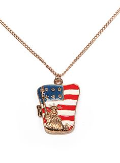 Gold Openable Statue Of Liberty U.S. Flag Necklace