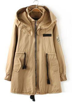 Khaki Plain Drawstring Pockets Cotton Blend Padded Coat