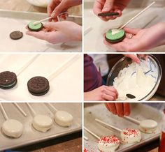 make your own cookie pops with store bought cookies Delicious Deserts, Oreo Pops, Cookie Pops, No Bake Treats, Cooking With Kids, Good Food, Fun Food, Kids Meals, Real Food Recipes