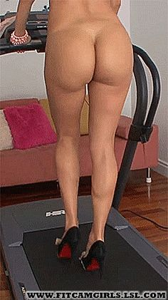 Naked fitness camgirl in heels working her butt on treadmill gif