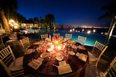 Love how the lighting from the pool brings so much life to the reception!  best wedding venue Palmilla Resort