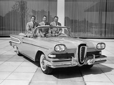 The three sons of Edsel Ford at an event introducing the Edsel Citation convertible (1957). The car brand's many models were an utter failure with consumers,  and Henry Ford II, right, then the president of Ford Motor,  reproached himself for allowing his father's name to become fodder for widespread ridicule.