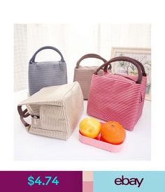 Plastic Containers Casual Portable Lunch Bag Striped Insulated Cooler Bag Lady Food Picnic Tote Bag #ebay #Home & Garden