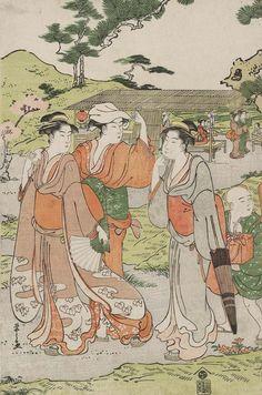 Viewing Cherry Blossoms at asuka Hill. Ukiyo-e woodblock print, Early 19th century, Japan.  Artist  Chobunsai Eishi