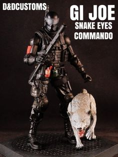 "GI JOE SNAKE EYES Commando & Timber v2 6"" 1:12th Scale (G.I. Joe) Custom Action Figure [CUSTOM GI JOE SNAKE EYES COMMANDO WITH TIMBER STYLE 6"" INCH 1:12th SCALE ACTION FIGURE BLACK SERIES MARVEL LEGENDS style]"