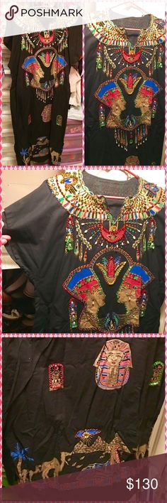 """💁🏼UNIQUE EGYPTIAN DRESS HOUSE-DRESS ORIGINAL NEW 💁🏼 One Size fits All. 100% Egyptian Cotton. Comfy going to a Party or wear around the house. I brought this Elaborated Black dress from Egypt and never wore. Hand Embroidered with sequins Pearls and Egyptian beads. Measures 25"""" inches across armpits and 53"""" long from shoulder to hem. Made in Egypt. I also have another similar in White listed in my closet ..... Just Beautiful!!! Egypt Dresses Maxi"""