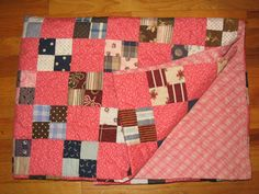 Double Pink Four Patch Antique Quilt