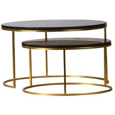 Image of Modern Black Marble Nest Coffee Table