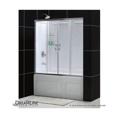 "Dreamline DL-6995-CL Visions 60"" High x 60"" Wide Sliding Framed Tub (960 CAD) ❤ liked on Polyvore featuring home, home improvement, plumbing, brushed nickel, shower doors, showers and sliding"