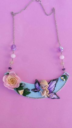 Necklace butterfly in fimo polymer clay by Artmary2 on Etsy
