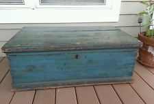 Antique primitive old blue paint tool chest trunk AAFA. 19th c. 1800s wood