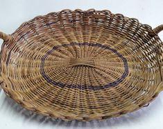 "African Tonga Binga Woven Basket With Handles Wicker Rattan Oval Basket 17"" x 12"" Zimbabwe Tribal Art Hand Made And Painted Vintage Nos"