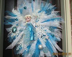 Beautiful Disney's Elsa Snow Queen from Frozen Deco Mesh Wreath