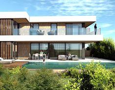 Single family house located in Cala Viñas, Calviá, Mall on Behance Villa Design, Patio Design, Exterior Design, Home Building Design, Building A House, Casa Top, Flat Roof House, Modern Small House Design, Casa Patio
