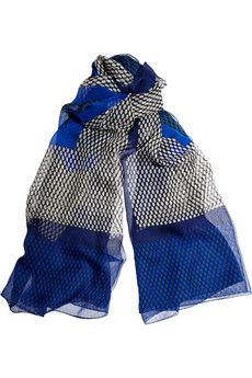 Love the colors: black/blue.  Printed silk-chiffon scarf / JONATHAN SAUNDERS