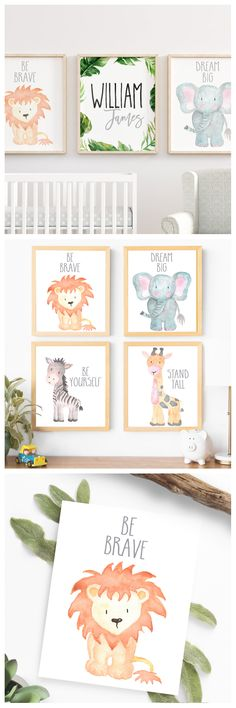 Safari Nursery Decor Wall Art Print Set of 4 Nursery Art Set Baby Animal Paintings Jungle Animals Nursery Animals Baby Shower Gift Boy Art | gift ideas for children | home inspiration | #ad #watercolor #drawing #painting #make #craft #diy
