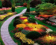 Sunken Garden, Butchart Gardens, Saanich Peninsula, British Columbia, Canada (With images) Plants, Beautiful Backyards, Garden Paths, Landscape Projects, Backyard Landscaping, Butchart Gardens, Gorgeous Gardens, Outdoor Gardens, Beautiful Gardens
