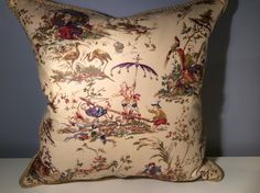 KRAVET PORTFOLIO CHINOISERIE TOILE & CLARENCE HOUSE SILK CUSTOM PILLOW in Collectibles | eBay
