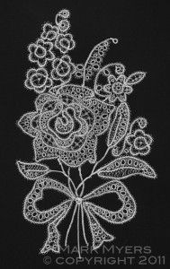 tatted rose floral spray design