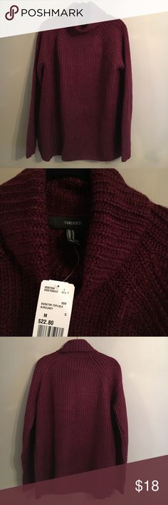 Forever 21 Oversized Burgundy Knit Sweater Forever 21 Oversized Burgundy Knit Sweater - Size M - 100% Acrylic - NWT Forever 21 Sweaters