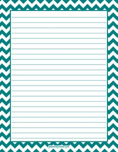 Printable teal chevron stationery and writing paper. Multiple versions available with or without lines. Free PDF downloads at http://stationerytree.com/download/teal-chevron-stationery/
