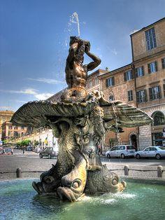 The Triton Fountain by Gian Lorenzo Bernini, located in Piazza Barberini, Rome, Italy
