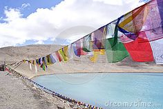 #Sikh #praying #flags besides the #Gurudongmar Lake, #Sikkim in North East #India